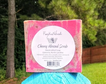 Cherry Almond Scrub - Rustic Handcrafted CP Soap