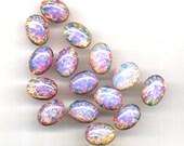 SALE 2 pcs 18x13mm Pink Fire Opal glass oval cab cabochon Vtg Czech Dragons Breath flatback DIY Pendant Necklace Bracelet Ring Pin Earrings