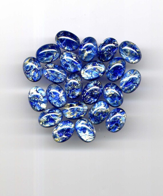VINTAGE 25x18mm Sapphire Moonstone Style GLASS CABOCHONS Oval Qty 4 Flat Back