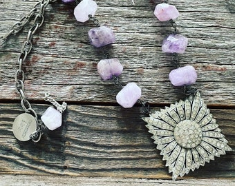 Art de co amethyst and French paste repurposed vintage assemblage statement necklace
