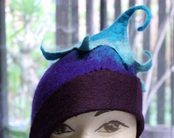 Purple Felt Pixie Hat  Made To Order, Hand Felted Hat, Curly Leaf Pixie Hat,