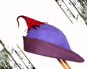 Purple and Red Pixie Hat - Custom Make to your size