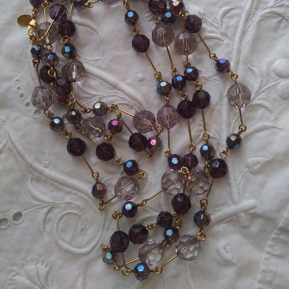 Joan Rivers Faceted Crystal purple/clear glass Bea