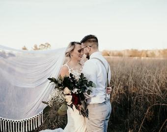 Boho Wedding Veil, Soft English Net Veil Champagne Ivory White Blush