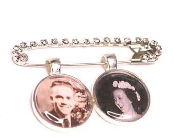 Personalized Bridal Bouquet Charm, Wedding Boutonniere Pin, Custom Photo Lapel Pin