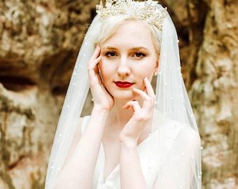 Pearl Wedding Veil, Ivory Wedding Veil, White Wedding Veil