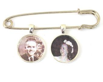 Wedding Boutonniere Pin, Custom Photo Lapel Pin, Personalized Bridal Bouquet Charm