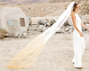 Ombre Wedding Veil, Alternative Wedding Veil, Gold Veil, Colored Veil