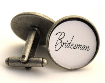 Bridesman, Gift Man of Honor, Groomsmen Cufflinks, Personalized Wedding Cufflinks