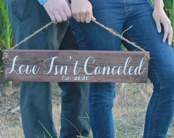 2020 Wedding Sign, Eloped Announcement Wood Sign, Just Married Sign, Covid Wedding