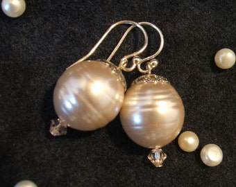 Large and Lustrous Pale Pink Freshwater Pearl Earrings