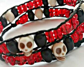 Handmade Double Wrap Hemp Wrap Bracelet or Hemp Choker with Skulls, Black Glass, and Red Glass Beads