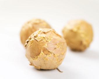 Christmas tree balls - Christmas Ornaments gold, yellow - Natural Holiday decor