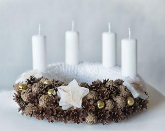White Advent wreath, White Christmas wreath, Rustic Christmas centerpiece, Christmas candle centerpiece