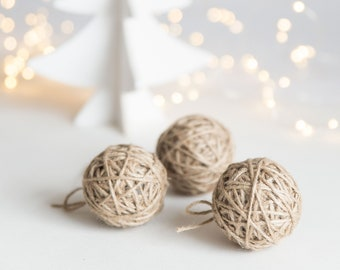 Rustic holiday ornaments - Jute ornament set - Jute twine balls
