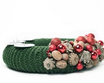 Christmas wreath, Green Advent wreath, Christmas centerpiece