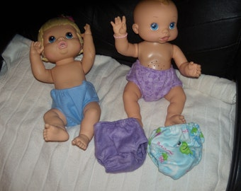 "Baby alive doll diapers set of   fits 12-14"" dolls handmade washable"