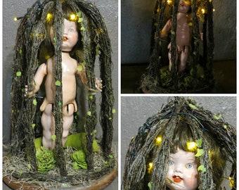 Creepy Doll Head Light Up Halloween Decoration Battery Etsy