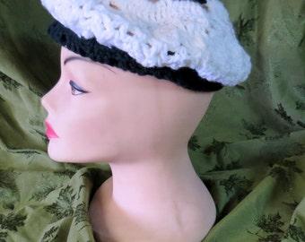 bb675e0f789 70 s Vintage Handmade Crochet Tam   Hat Black and White Retro Hippie