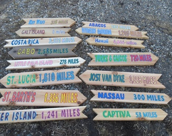12 Hand painted  Wood Directional Signs, Cedar Arrow Sign, Personalized, Wayfarer Sign, For Sign Post with mileage Assorted styles and size