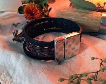 Trendy Braided Triple Leather Cuff w Magentic Clasp