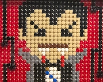 DRACULA with spiders original LEGO pixel art - Vampire Vlad Monster