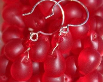 Handmade glass teardrop, sterling silver and Swarovski crystal earrings in handmade gift box