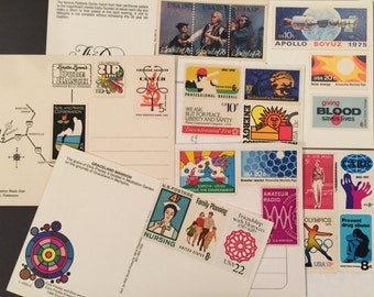 Studio 1500 - 2 Postcards with Original Doodle / Illustration and Pre-stamped with Funky Vintage Stamps