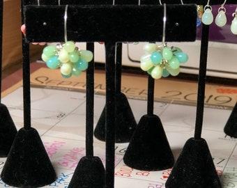 Studio 1500's Glass Mini Teardrop Full Pom Earrings; 7 shades of GREEN with sterling silver
