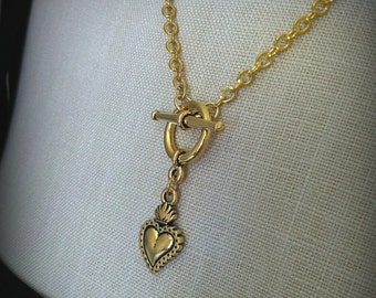Gold Sacred Heart Ex Voto Milagros Toggle Necklace Corazon Sagrado Pendant, Tattoo Style Toggle Heart Necklace Valentines Gift