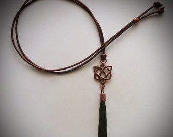 Copper Celtic Heart Leather Lariat Tassel Necklace Outlander Jewelry Jamie Claire Fraser Je Suis Prest Celtic Jewelry by Gracie Wieber