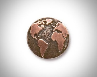 World Map Lapel Pin, Mens Tie Tack, Copper Lapel Pin, Globe Pin, Groomsmen, Gift for Groom, Dad or Best Man
