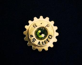 Bullet Lapel Pin Western Steampunk Cog Mens Tie Tack Groomsmen Gift Brass Shell Ammo Birthstone Jewelry Swarovski Crystal Remington 45