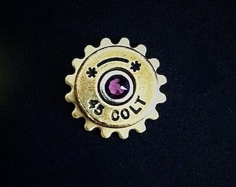 Bullet Lapel Pin Colt 45 Western Tie Tack Groomsmen Gift Brass Shell Ammo Birthstone Jewelry Swarovski Crystal Steampunk Cog Mens Lapel Pin
