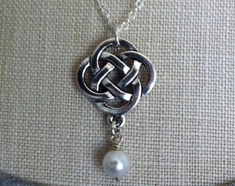 Celtic Knot Necklace, Swarovski Pearl Pendant, Outlander Jewelry, Celtic Bridesmaid Necklace, Claire Wedding