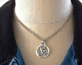 Celtic Triskele Pendant, Men's Silver Rolo Chain Necklace, Triquetra Pendant, Trinacria, Unisex Necklace, Boho Jewelry