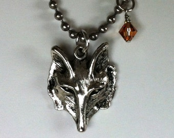 Men's Celtic Wolf Necklace, Gothic Ghost Wolf Pendant, Totem Wolf Jewelry Native American, Swarovski Crystal Direwolf Game of Thrones