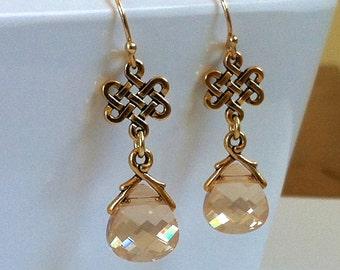 Gold Eternity Knot Earrings Crystal Outlander Earrings Bridal Celtic Wedding Jewelry Champagne Crystal Eternity Love Knot Earrings