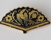 Vintage DAMASCENE Toledo Fan Pin 1960s Filigree Bird Flowers Madrid