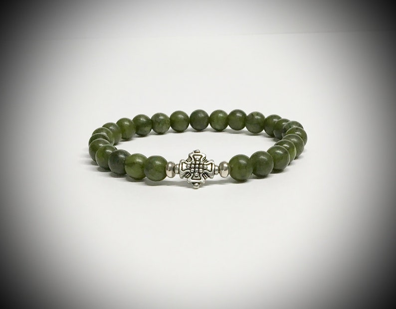 Men's Celtic Cross Serpentine Jade Bracelet Outlander image 0
