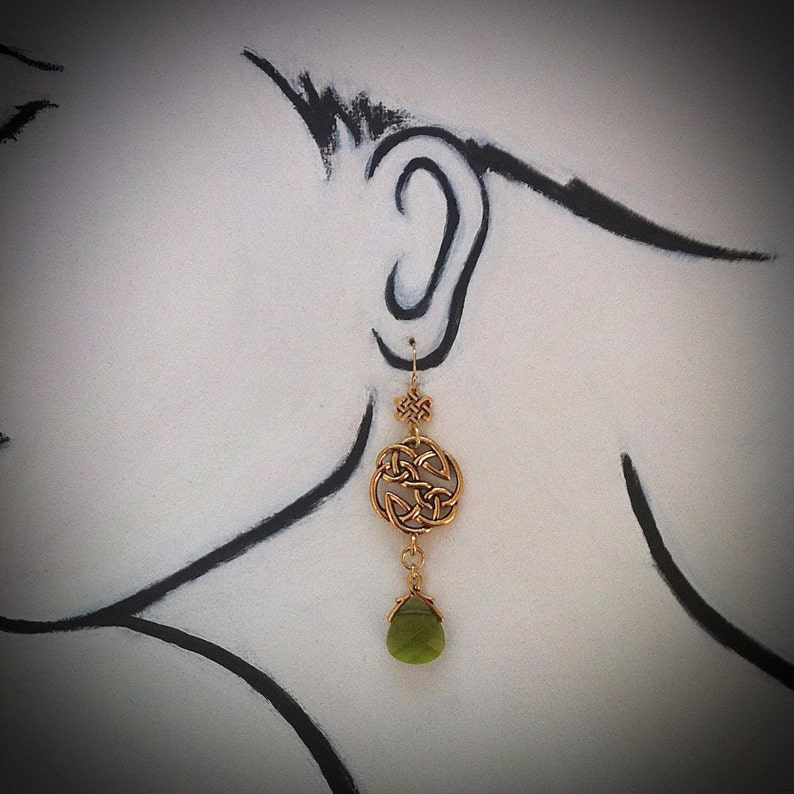 Gold Celtic Knot Earrings Woodland Green Crystal Celtic image 0