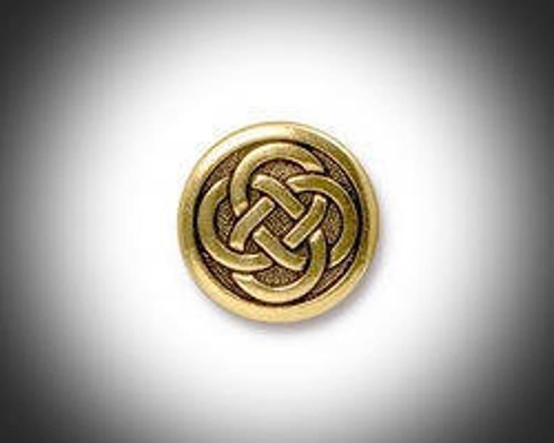 Gold Love knot Lapel Pin Mens Tie Tack Celtic Jewelry Irish image 0