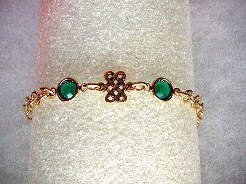 Gold Celtic Eternity Knot Bracelet Swarovski Emerald image 0