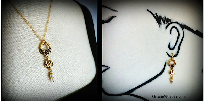 Gold Ring Celtic Knot Necklace Earring SET Swarovski Pearl image 0