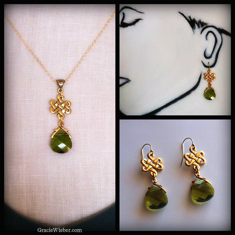 Gold Eternity Knot Necklace Woodland Green Crystal Pendant image 0
