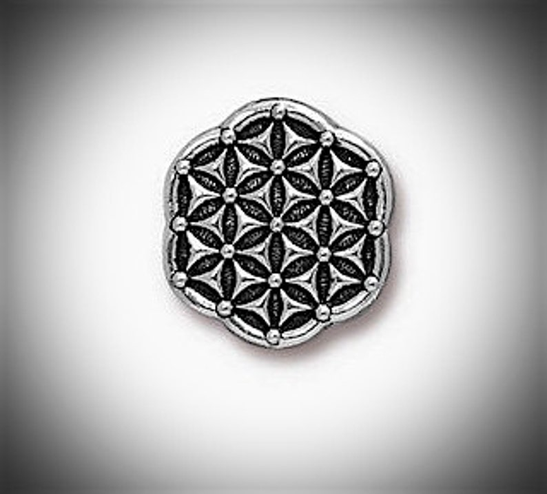 Silver Flower of Life Lapel Pin Sacred Geometry Pin Seed of image 0