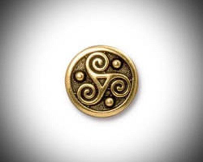 Gold Triskelion Lapel Pin Celtic Boutonniere Triskele Tie image 0