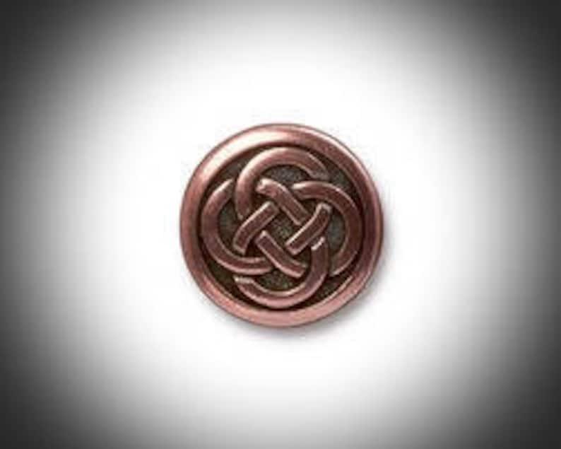 Copper Love knot Lapel Pin Mens Tie Tack Celtic Jewelry Irish image 0