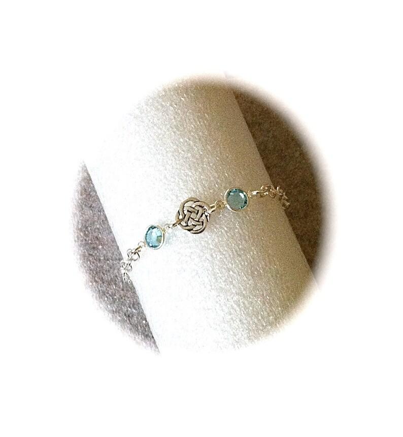 Silver Celtic Knot Bracelet Swarovski Aquamarine Birthstone image 0