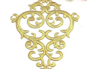 """Gold Embroidered Applique Metallic Designer Scroll Motif Iron On Patch 8/"""" GB687"""